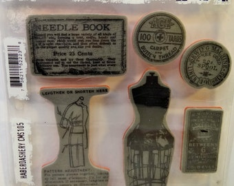 Tim Holtz Stampers Anonymous Cling Mounted Rubber Stamp Set-Haberdashery-New