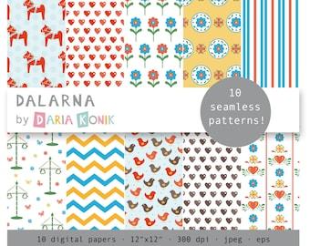 Swedish Digital Paper Pack Dalarna-dala horses, Sweden, hearts, birds, midsommar trees, Scandinavia, eps, jpeg, instant download