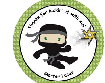 12 Personalized Ninja Karate Birthday Party Favor Thank You Tags Or Stickers You Choose Thanks