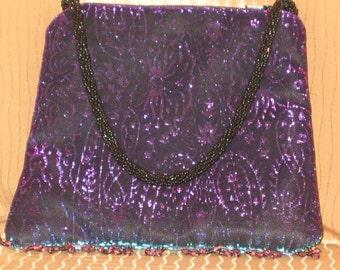 Black Evening Bag, Small Black Purse, Black Clutch, Clutch Bag, Black, Purple, and Turquoise Iridescent Evening Bag, Small Black Purse