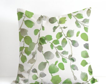 Greenery Pillow Cover Watercolor Pillow Case Hand Painted Watetcolor Foliage Decorative Cushion Cover Unique Botanical Design Made in Canada