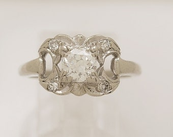 0.53 ct. Diamond & White Gold Antique Engagement Ring- J33369