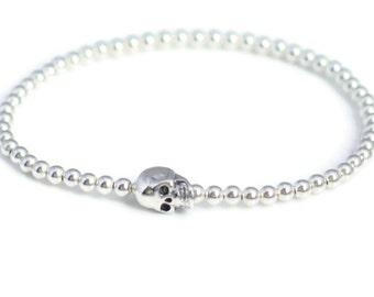 Sterling Silver 925 Bead Stretchable Skull - Skeleton Bracelet
