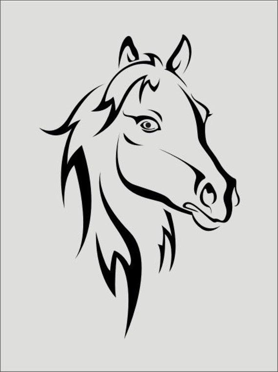 Horses Sign Stencil / Horses Heads 02 3 Sizes Von
