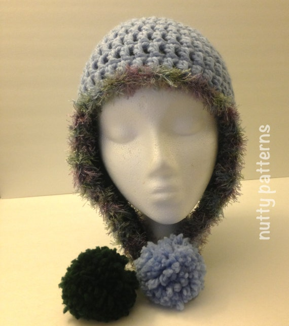 Double Crochet Hat Pattern With Ear Flaps : Crochet Patterns Alex Hat Double layer Double by nuttypatterns
