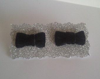 Black Velvet bow tie earrings