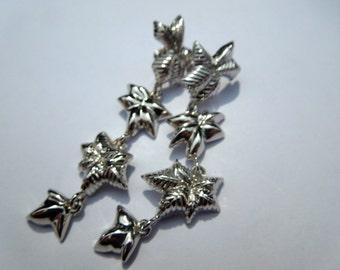Vintage silver coloured leaves earrings