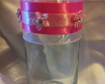 Candleholder- Pink Ribbons and Bows
