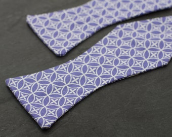 Handmade bow tie purple classic pattern self tie freestyle colorful cotton bowtie