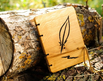 Custom handmade  journal with carved oak wood cover natural finish  / made to order