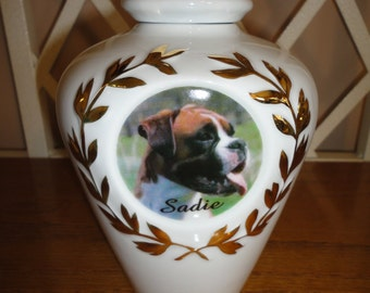 "Pet Urn, Memorial, 24K Gold Design ""Personalized"", Photo, Cat, Dog, Photo Urn,"