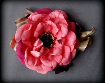 Handmade satin flower brooch rose brooch handmade pink rose flower clip & pin