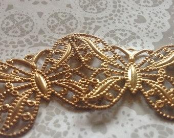 6 x Gold Plated Filigree Butterflies