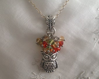 Fall / autumn silver and crystal long owl necklace