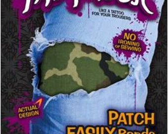 The easy-to-apply, stealthy Green Camoflage Patch.  Your jeans have never felt so safe and protected!
