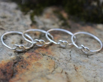 Love Knot Ring Set of 4 (four) Sterling Silver Bridesmaid Friendship Ring Celtic knot Argentium
