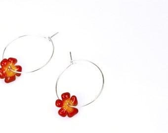 Posy Hoop Earrings: Red