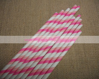Double Stripes Paper Straws 50 Pink & Peach Paper Straws for 1st Birthday Baby Shower Cake Pop Sticks Wedding W/ Free DIY Printable Flag