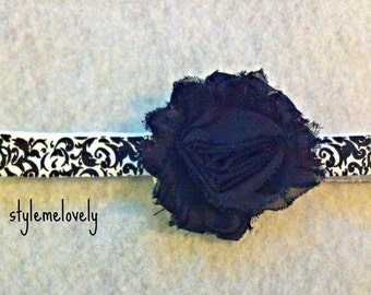 Damask Baby Girl Black Shabby Flower Headband