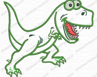 Funny T-rex Dinosaur Applique and Fill Stitch Embroidery Design in 4x4 5x5 and 5x7 Sizes