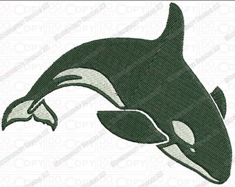 Orca Whale Embroidery Design in 2x2 3x3 4x4 and 5x7 Sizes