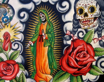 Fabric, Contigo in Black, Alexander Henry, Skull Day of the Dead, By the Yard