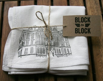 WHITE Brooklyn Architecture Flour Sack Tea Towel of P.S. 9 Annex in Prospect Heights