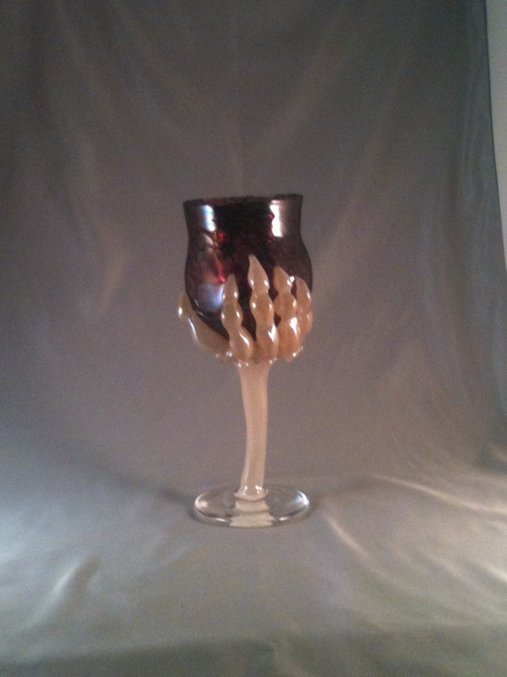 Hand blown claw goblet.  Hand blown wine glass. Skeleton hand goblet. Skeleton hand wine glass