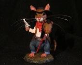 Cowboy Mouse Original Polymer Clay  Sculpture meet CASSIDY