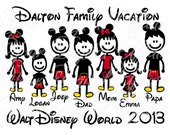 Personalized Stick Figure Family Vacation Disney World Names Figures Printable DIY Iron On Transfer