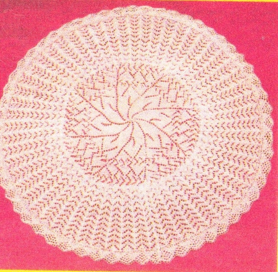 Knitting Patterns For Circular Shawls : Baby lace circular shawl vintage knitting pattern