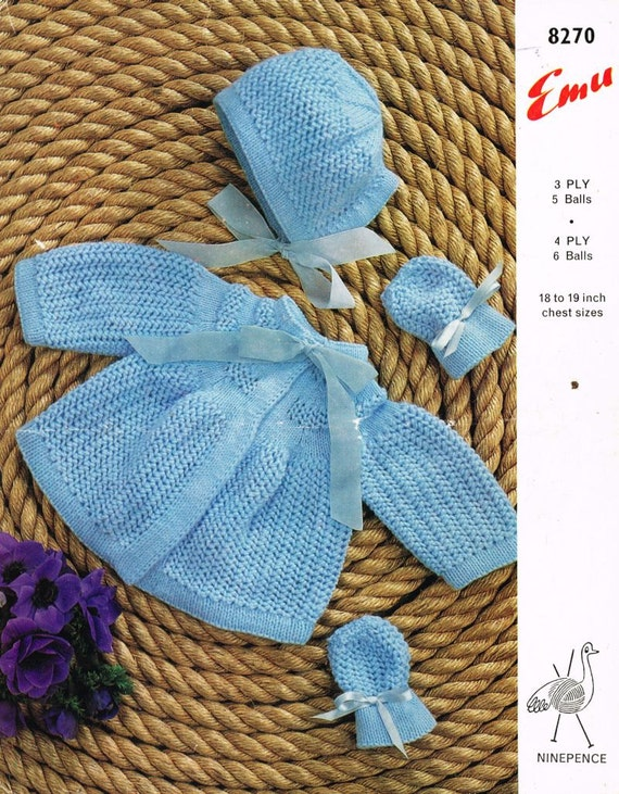 baby matinee coat set vintage knitting pattern PDF