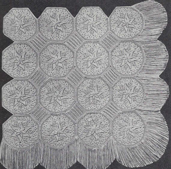Leaf Bedspread Knitting Pattern : Items similar to Knitted Star counterpane baby shawl ...