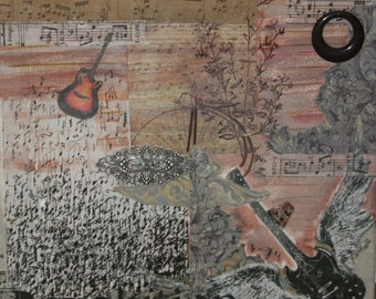 Original Mixed Media Art Collage  - Escape