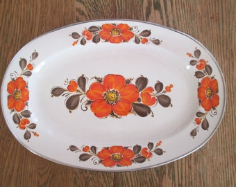 Serving Platter Ocal Tray Enamel Orange Poppies Chrome Edge Show Pans Sanko Ware Japan
