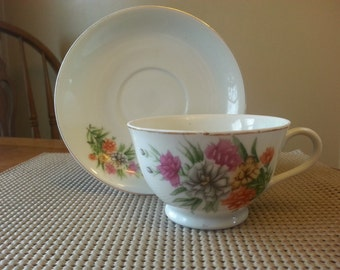 Vintage Nasco China Tea Cup and Saucer Set, Hand painted,  from Japan, Floral Design