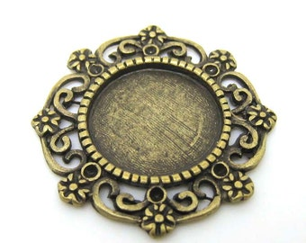 10pcs Antique Brass Filigree Round Shaped Blank Disc Plate Pendant Charm 24 mm (CHM-AB-RBD2424)