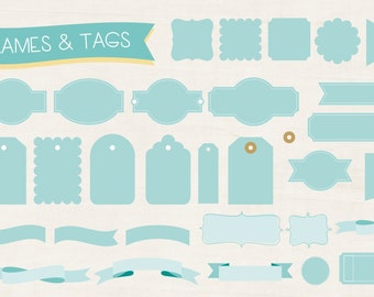 Instant Download - Digital objects frames and tags (PDF, PNG, CDR)