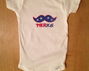 Patriotic Mustache 'Merica Shirt or Baby Bodysuit