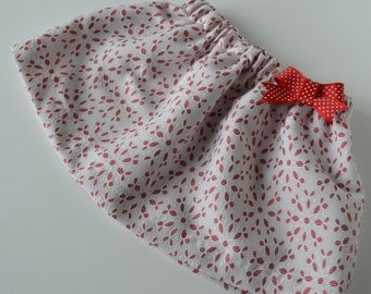 Girl's Eyelet Print Skirt with Coordinating Hair Barrette