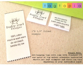 Qty 100~ FOLDED Custom Clothing Labels ~ thermal printed textile/clothing tags- FOLDED