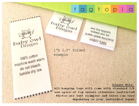 Clothing Tags: Qty 100 FOLDED Custom Clothing Labels Thermal Printed