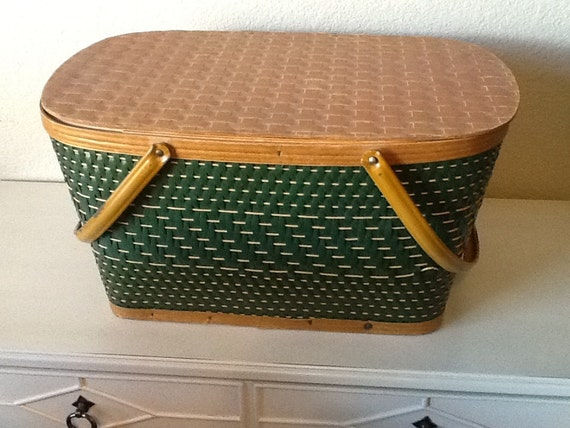 Picnic Basket Items : Items similar to vintage wicker picnic basket on etsy