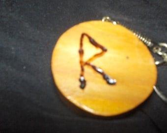 Woodburned Rune Keychain
