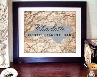 Charlotte North Carolina Print, NC Print, Carolina Print, North Carolina State Print, State Print