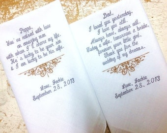 Embroidered Wedding Handkerchief Monogrammed custom heirloom personalized 2 Father in Law and Dad