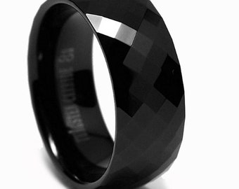 8MM Black Men's Multi-faceted Tungsten Carbide Ring Sizes 5 to 15