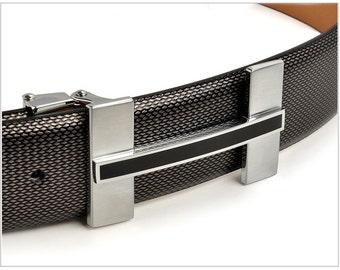 H letter buckle men's dress belt  Size L