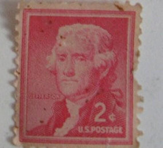 1954 Vintage Us 2 Cent Postage Stamp Thomas Jefferson 1950s