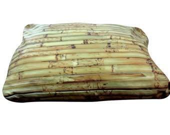 Bamboo rectangle dog bed. Dogzzzz tired of the same old plaids and stripes brings the rugged outdoors in makes it fun.Free shipping!